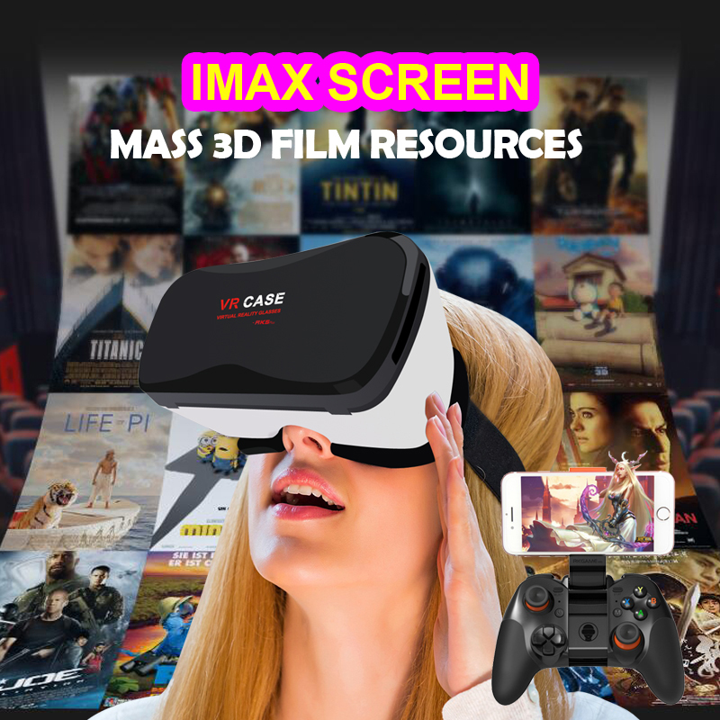 Google Cardboard VR case 5plus Virtual Reality Lunette 3D Glasses Goggles 3D Remote Control Gamepad for i Phone S amsung Android