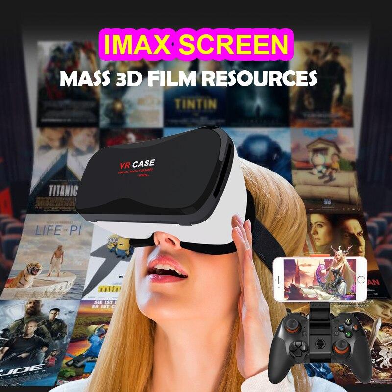 Google Cardboard VR <font><b>case</b></font> 5plus <font><b>Virtual</b></font> <font><b>Reality</b></font> Lunette 3D <font><b>Glasses</b></font> Goggles 3D <font><b>Remote</b></font> Control Gamepad for i Phone S amsung Android