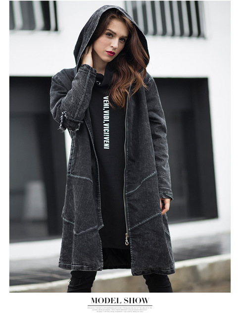 ENJOY PLUS 5%OFF chest 100-120cm winter 2016 black denim casual trench coat long woman big size jeans european hoodie XL- 5XL