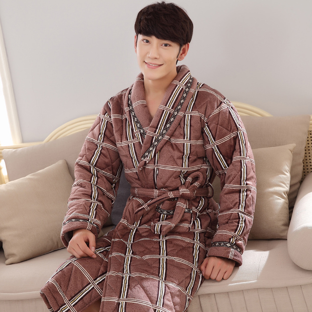 Brand New Winter Men's Nightgowns Warm Robes for Men Bath Robe Bathrobe Bedroon Long Robe Spa Shower Bathrobe Size 4XL Fashion