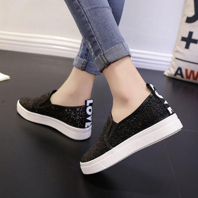 Mujeres Mocasines Negro Zapatos Mujer Nuevas Plataforma Primavera Paillette Casual Lentejuelas Negro Señoras plata Plata qFqAH1