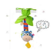 New Design Monkey Baby Rattle with Melody Wind Up Music Box Toy Crib  Hanging Baby Teether Pull Bell Plush Doll          TY