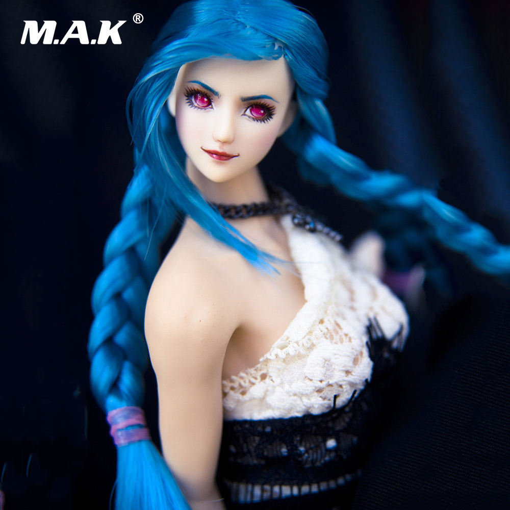 1:6 Scale Girl Female Head Ob27 Red Eyes Blue Hair Double Braid Ver. Head Model For 12 Pale UDLD Phicen Female Figure Body custom 1 6 scale agent girl doll head f001 carving sculpt model for 12 inch ht phicen body action figure
