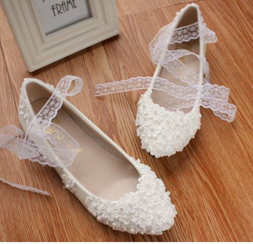 ФОТО White lace flowers fashion wedding flats shoes for women TG058 ladies girl sweet handmade lace ankle straps dance low med heel