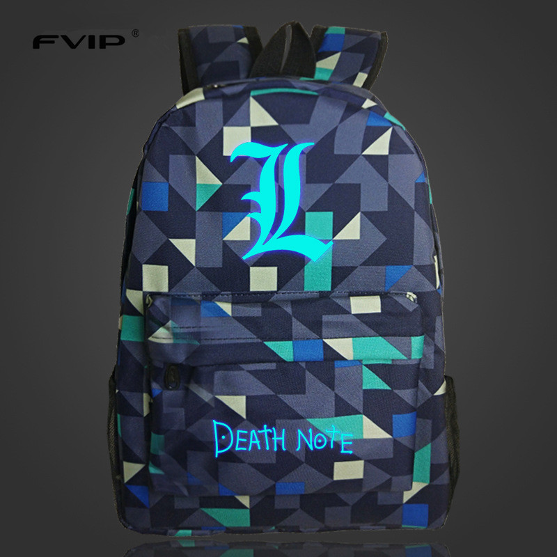 FVIP Free Shipping High Quality Lumious Death Note Backpack Boy Girl's School Bags For Teenagers Oxford Backpacks 13 Colors