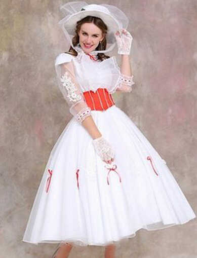 Custom made Mary Poppins Traje Tamanho Adulto com Red Satin Corset vestido traje cosplay