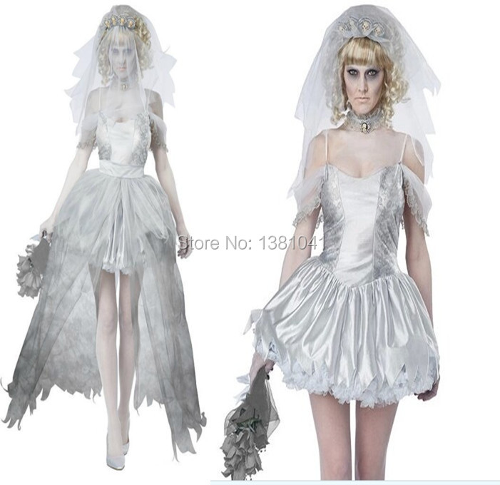 Horror Sexy Ghostly Bride Costume Ghost Ship Vampire Costumes Women Zombie Halloween Wedding Fancy Dress Pirate Treasure Outfit In Anime From