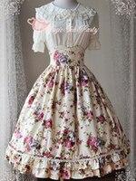 Floral Print Cotton Ruched Hime Lolita Dresses