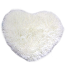 fashion modern decorative shaggy heart soft faux fur rug sheepskin bedroom kid girls mat white