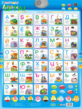 Stock!!Russian language Learning & Education baby toy Alphabet Music Learning Machine Phonic Wall Hanging Chart talking poster