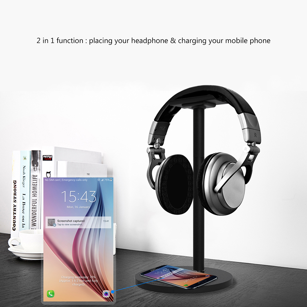 2 functions QI wireless charger charging base stand with headsets holder bracket for samsung galaxy S for Headphone holder