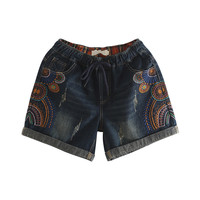 Women Vintage Elastic Waist Denim Shorts Casual Loose Embroidery Basic Jeans Shorts High Quality Plus Size 3XL Shorts For Summer