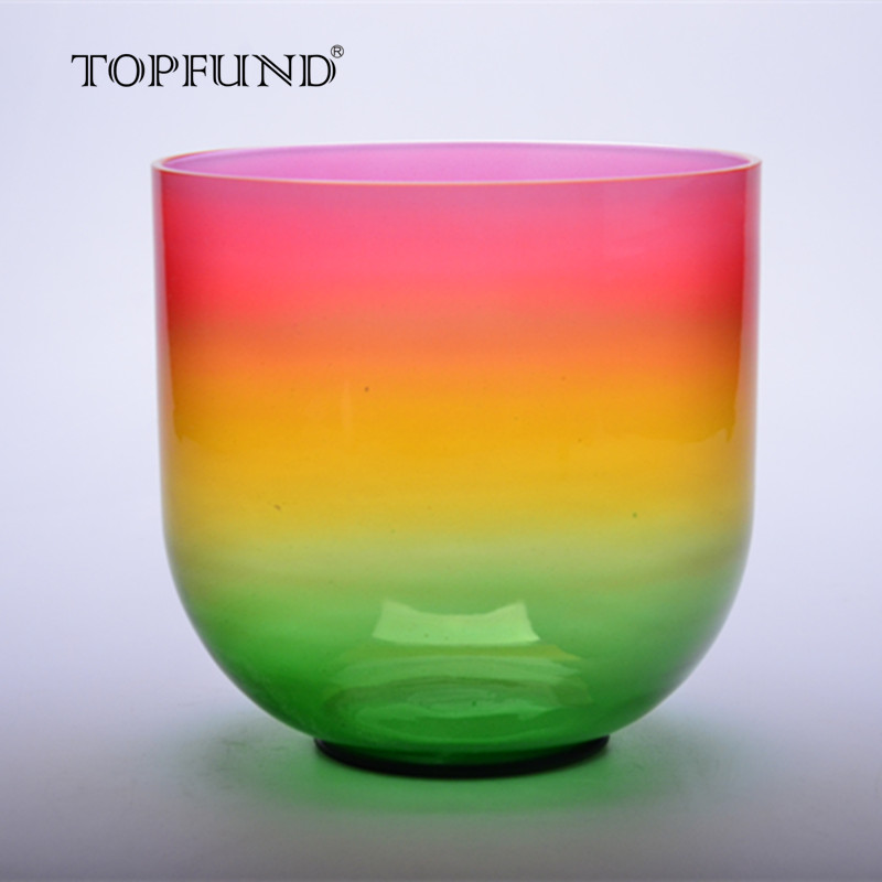 TOPFUND Rainbow Color Clear E Note Solar Plexus Chakra Quartz Crystal Singing Bowl 6 With Free Mallet and O-Ring