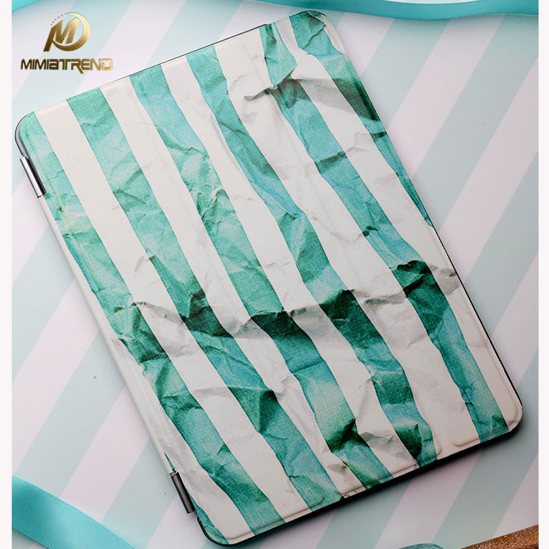 Mimiatrend 3D Stripes Stand Design PU Leather Case for iPad 3 4 2 Smart Cover Smartcover for iPad Air 2 + Protective film pannovo waterproof pu leather extra thick anti shock eva case for gopro hero 4 3 3 2 sj4000