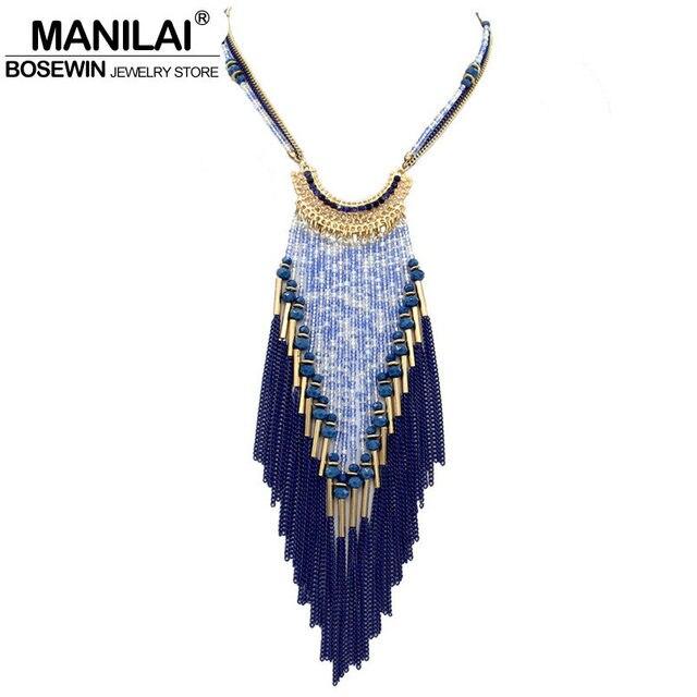 MANILAI Bohemia Long Necklace For Women Dress Multilayers Bead Chain Tassel Statement Necklaces & Pendants Collier femme