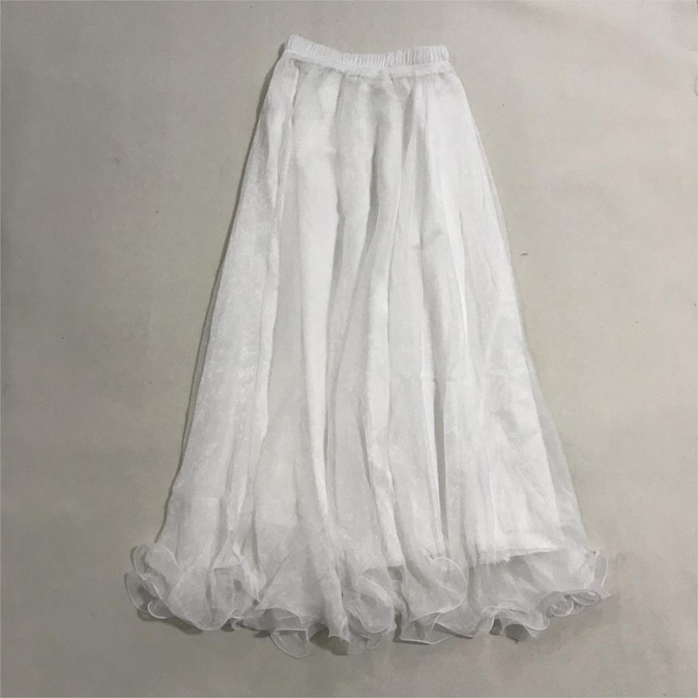 Sherhure 19 High Waist Women Chiffon Long Skirts Floor Length Ruffles White Summer Boho Maxi Skirt Saia Longa Faldas 9
