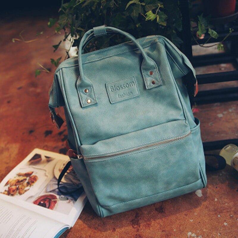 Laptop Schoolbags Leather Backpack Rugzak Teenager Korean-Style Girls Fashion Women Mochila