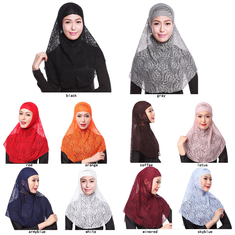 Fashion Lace Muslim Niqab Silk Two Pieces Set Malaysian Hijab