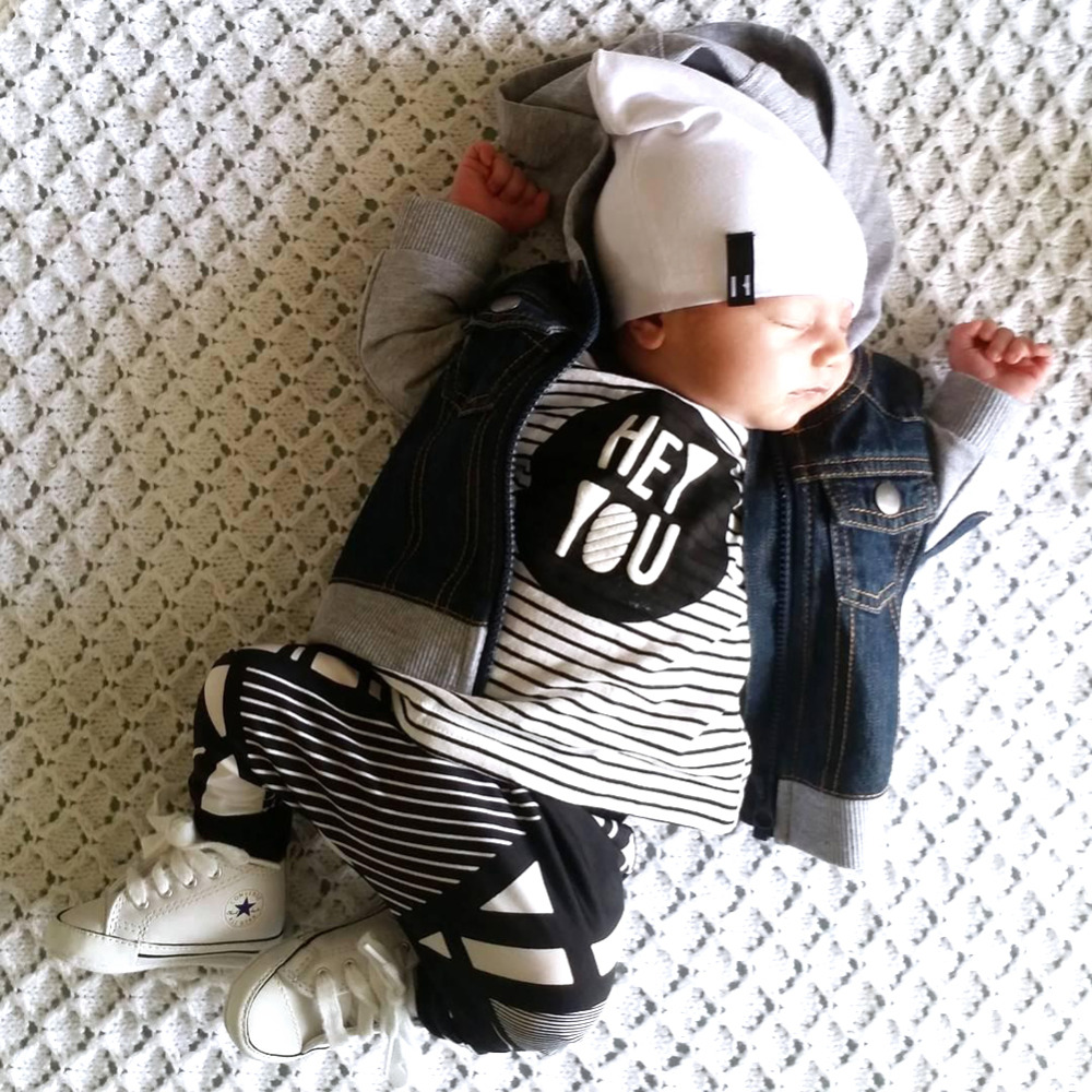 New Spring Autumn Infant Baby Boys Girls Cotton Clothes Set Long Sleeve Stripe T-shirt Tops+Pants Trousers 2Pcs Kids Outfit Set