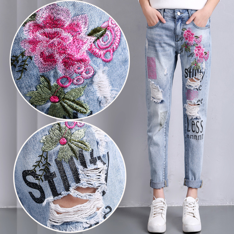 Ripped Flower Embroidery Jeans Female Light Blue Casual Pants Capris Summer Spring Pockets Harem Jeans Women Bottom Retro TT2314 flower embroidery jeans female white casual pants capris spring summer pockets straight jeans women bottom pu patchwork trousers