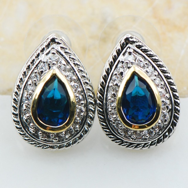 Синий Имитация Сапфир 925 Серебряные Серьги TE616