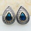 Simulado azul Safira 925 Prata Esterlina Brincos TE616