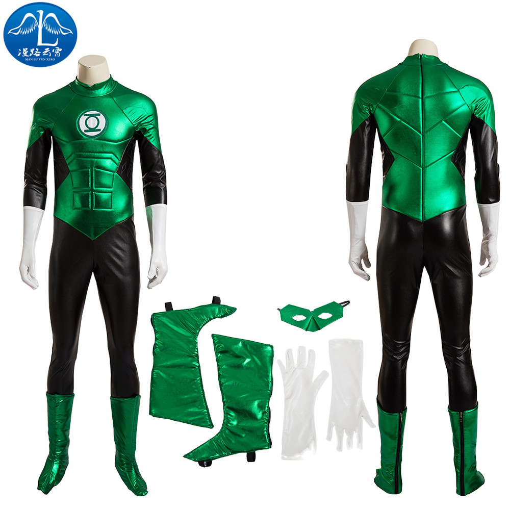 ManLuYunXiao Green Lantern Cosplay Costume For Men Halloween Cosplay Costume Adult Green Men Jumpsuit Custom Made Free Shipping