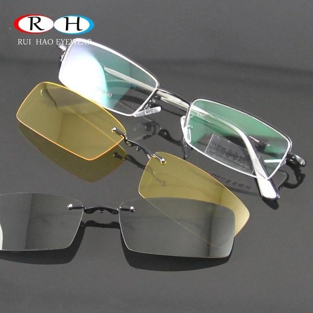 150635db9a5230 Gläser Frauen Rahmen Brillen Männer Brillen Rahmen 2 stücke Magnetische  Polarisierte Sonnenbrille Clip auf Brille Gelb