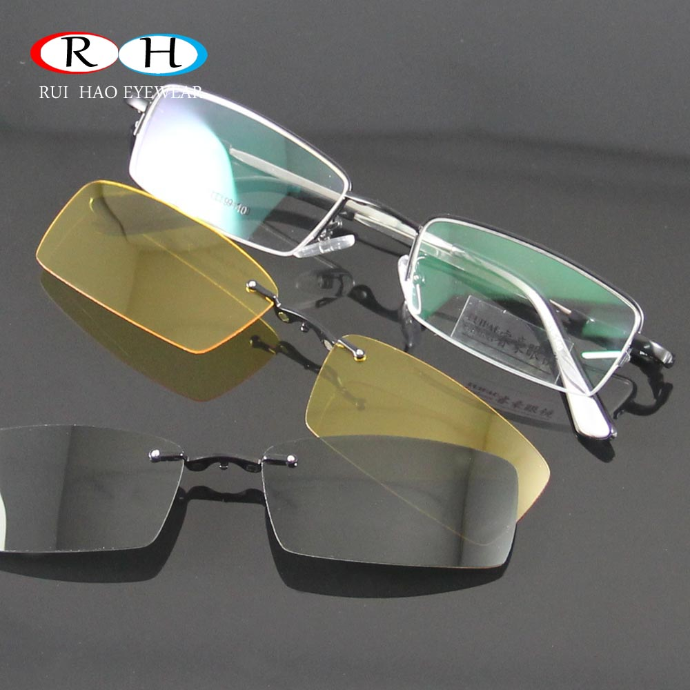 Glasses Women Frames Eyeglasses Men Eyewear Frame 2PCS Magnetic Polarized Sunglasses Clip on Goggles Yellow Night