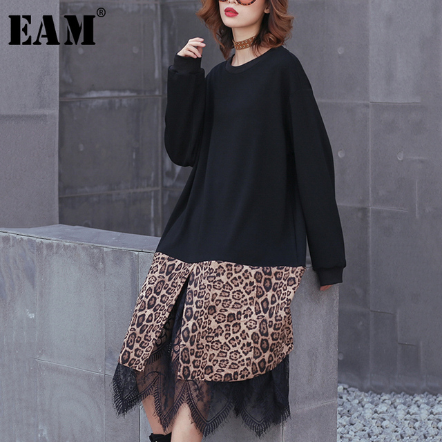 [EAM] 2019 New Spring Winter Round Neck Long Sleeve Black Hem Leopard Lace Large Size Thick Dress Women Fashion Tide JK869