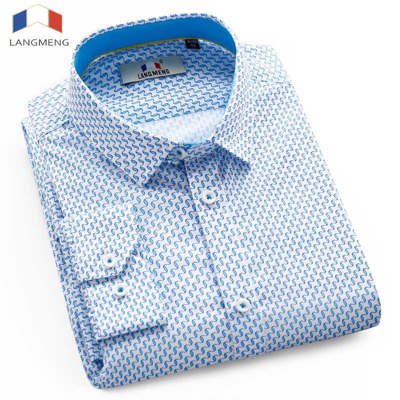 Langmeng 2017 ホット販売綿 100% メンズプリント Caual シャツの男性のストライプ社会長袖男性ドレスシャツカミーサ masculina