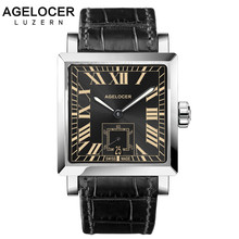 AGELCOER Brand Swiss Waterproof Male Square Super LumiNova Automatic Watch Men Wristwatch Mechanical Watches with Date