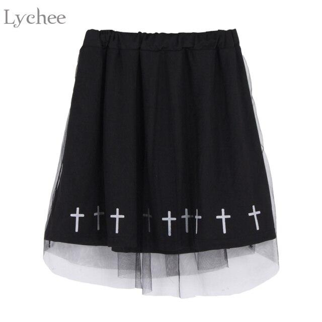 4c07077b12b215 € 12.12 15% de réduction|Lychee gothique Punk été femmes jupe imprimé croix  maille Lolita taille haute Kawaii a ligne jupe dans Jupes de Mode ...