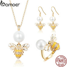 BAMOER High Quality 925 Sterling Silver Freshwater Pearl Bee Earrings Necklaces Jewelry Sets for Women Wedding Jewelry ZHS066(China)