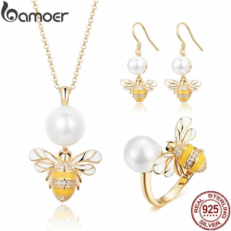 BAMOER High Quality 925 Sterling Silver Freshwater Pearl Bee Earrings Necklaces Jewelry Sets for Women Wedding Jewelry ZHS066