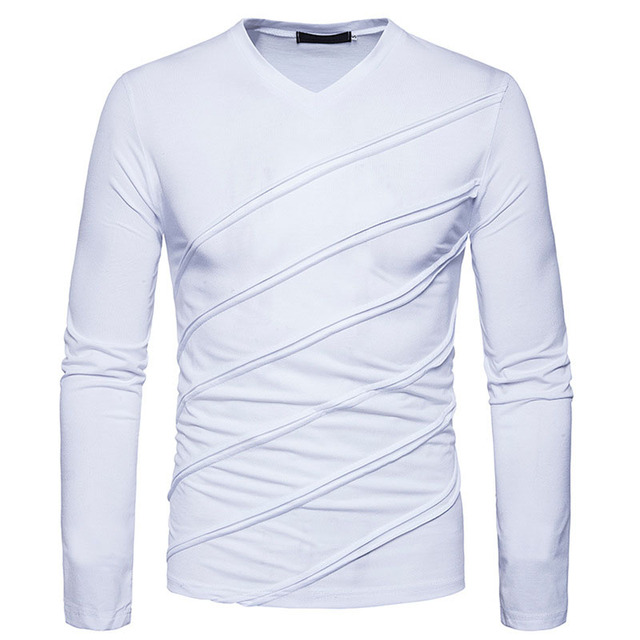 7c08b7e2591 2018 New T Shirt Men Fashion Fold Designs Solid V-Neck Long Sleeve Shirts  Good Quality Slim Fit Men s Tshirt Tops