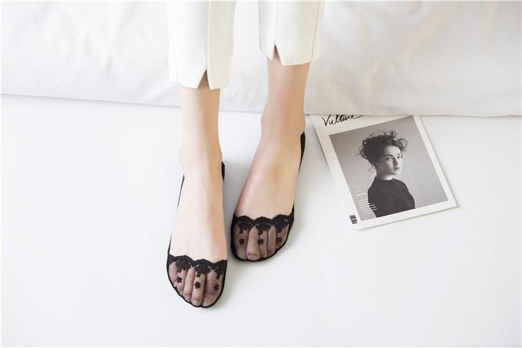 Super Thin Lace Women Socks Invisible Sweat-absorbent Boat Socks Women Summer non-slip Cotton Transparent Sock