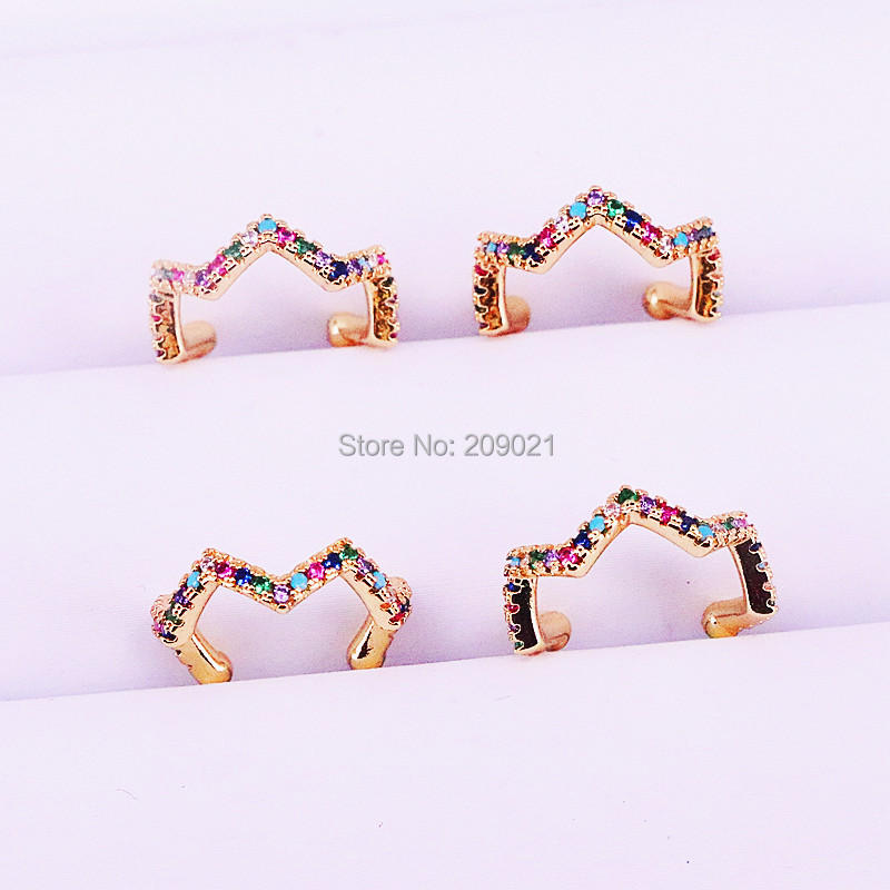 10Pairs Fashion Jewelry Gold Color Multicolor Rainbow CZ Zirconia Ear Cuff Earrings for Women