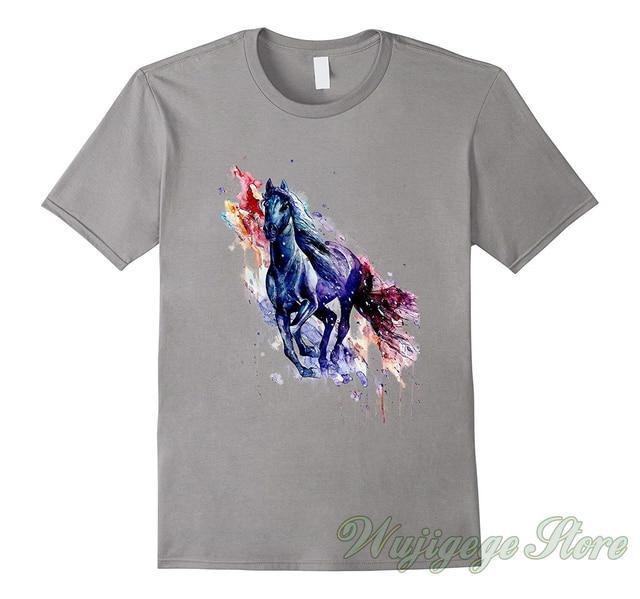 Verano Divertido impresión hermosa acuarela caballo camiseta Splash los caballos pintura t camisa de los hombres las mujeres tops tee 100% camisetas de algodón
