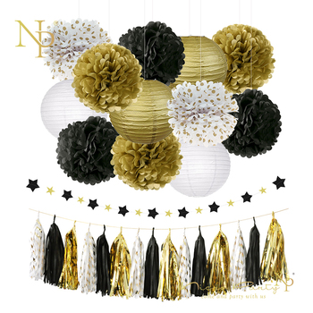 Nicro 28 pcs/lot Graduation 2019 Party Decoration Kit Gold Slingers Tissue Paper Flower Lantern Tassel Garland  Birthday #Set18