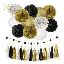 Nicro 28 pcs/set Gold Black  Birthday Graduation Baby Shower Party Decoration Kit Slingers  Paper Flower Lantern Tassel #Set18