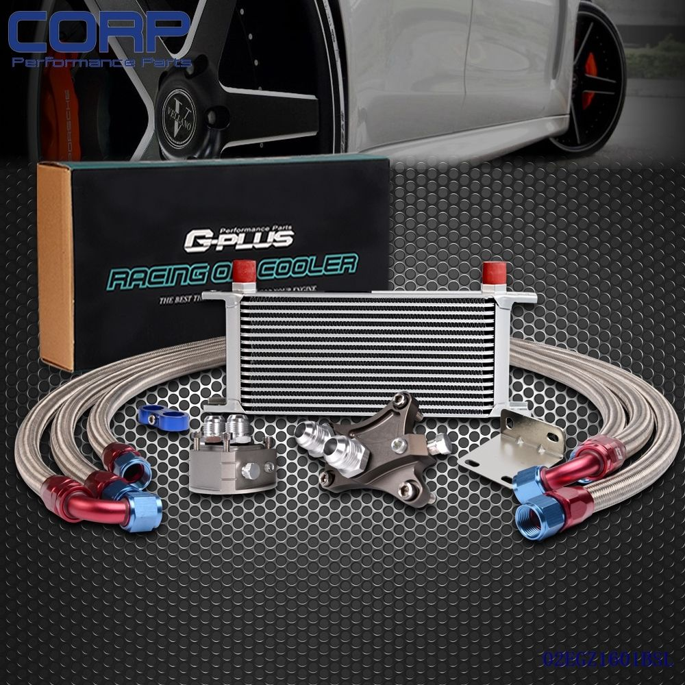 16 Row Oil Cooler Kit For Nissan Silvia S13 S14 S15 180SX 200SX 240SX SR20DET epman universal 10 row oil cooler kit with oil filter relocation kit for turbo race ep ok1012