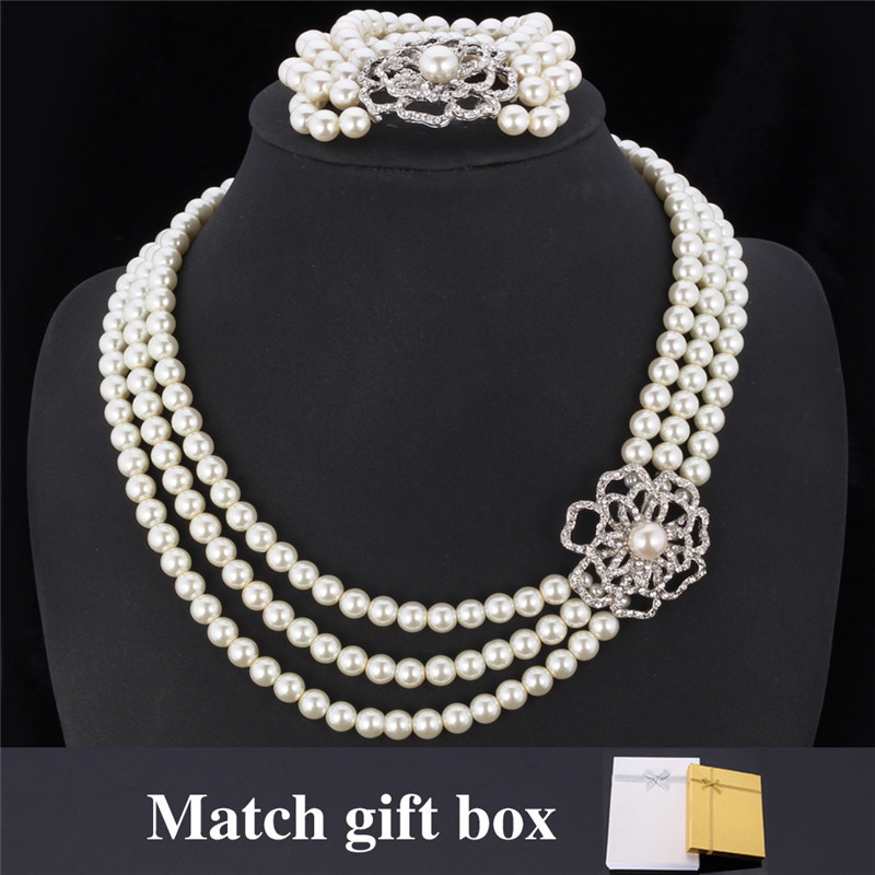 New Necklace Bracelet Set Austrian Rhinestone 3 Layers Luxury Flower Synthetic Pearls Bracelet Jewelry Set For Women MGC NH5120 rhinestone embellished metal bracelet set