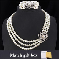 New Necklace Bracelet Set Austrian Rhinestone 3 Layers Luxury Flower Synthetic Pearls Bracelet Jewelry Set For Women MGC NH5120