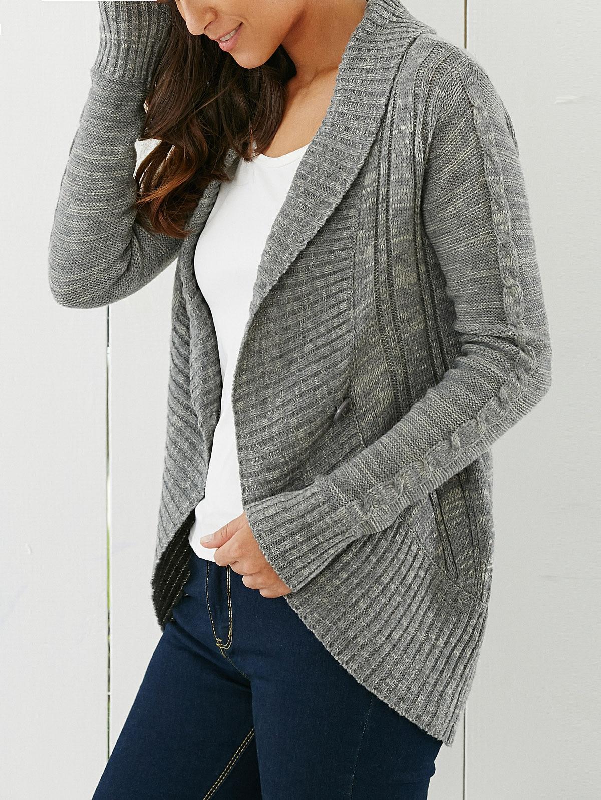 494e982f9ca ZAN.STYLE Winter Shawl Collar Cardigan women V neck Button up rib knit  Irregular Slim sweater Cardigan gray pull femme hiver
