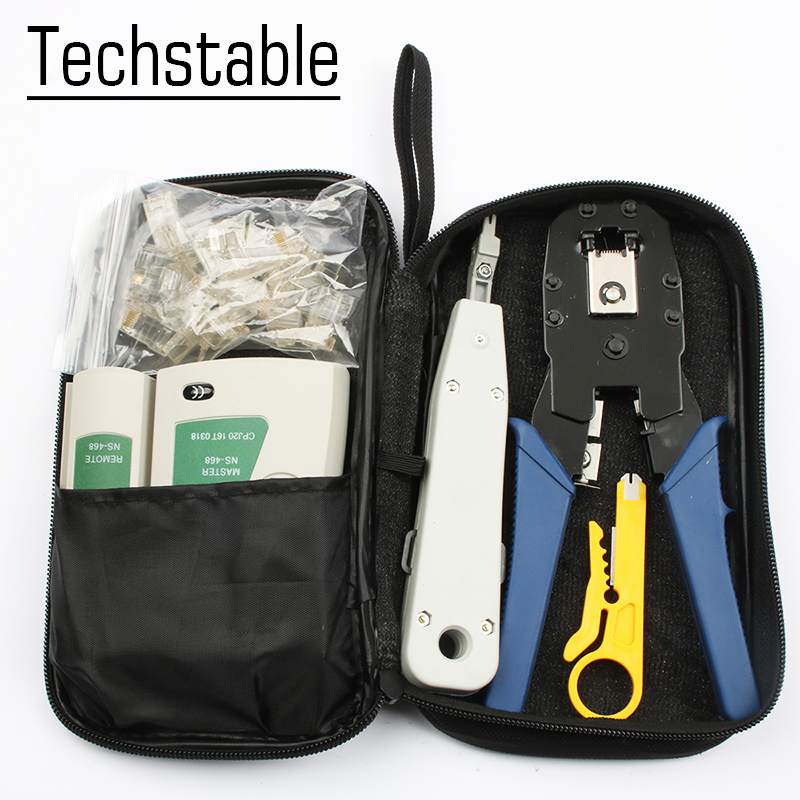 Multifunctional Network Ethernet Cable Tester Kit RJ45 Crimper Crimping Tool Punch Down RJ11 Wire Line 8P8C RJ45 tool set network cable testing diagnostic tool kit set rj45 rj11 ethernet lan cable tester voltage detector punch tool wire tracker