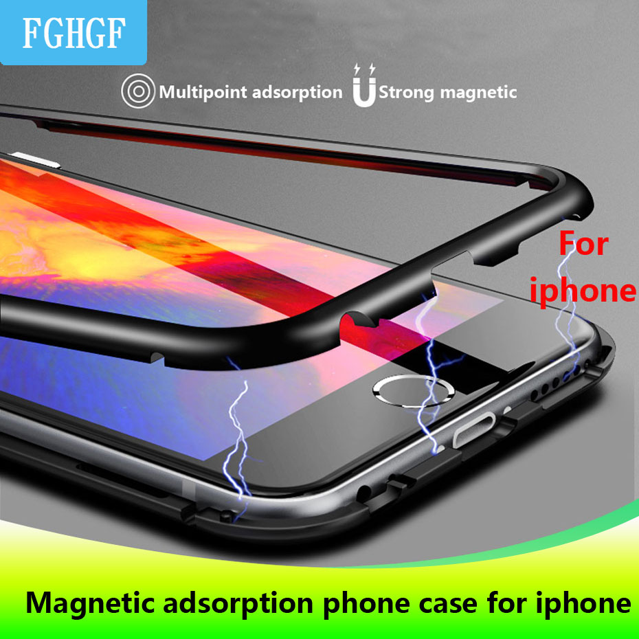 Dirt resistant Metal Magnetic anti knock phone Case for apple iphones iphone 7 8 X S Plus plain fitted case+Back Tempered Glass-in Phone Bumpers from Cellphones & Telecommunications