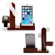 Wood Charging Stand With USB Power Splitter