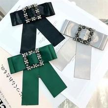 Korea New Handmade Solid Fabric Rhinestone Shirt Pin Neck Bow Tie Bowknot Apparel Accessories Fashion Jewelry-YHNLB013F