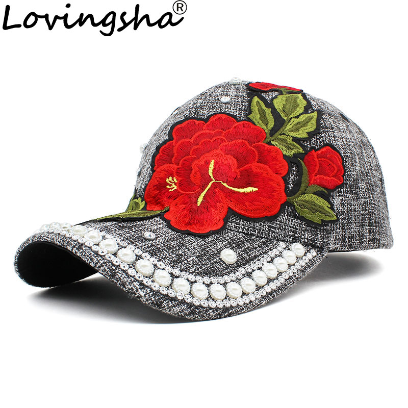 LOVINGSHA Rhinestones Baseball Cap Women Men Spring Floral Snapback Summer Cap For Girl Fitted Cap Autumn Wholesale Hat AD089